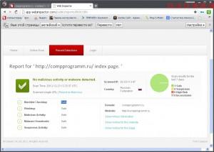 Интерфейс. Окно -Проверка  сайта  в быстром  браузере  Comodo Dragon.