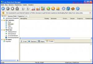Интерфейс. Программа  для  скачивания  Free Download  Manager